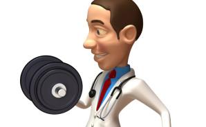 Nurse lifting weights