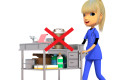 Nurse with coffee on her med cart