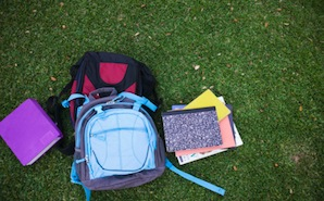 backpack in the grass