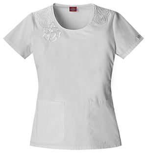 This feminine and sophisticated scrubs top has a junior fit and round neck,  and features a tonal embroidery at the front shoulder, rounded patch  pockets, ...