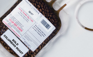 Coffee in a blood bag