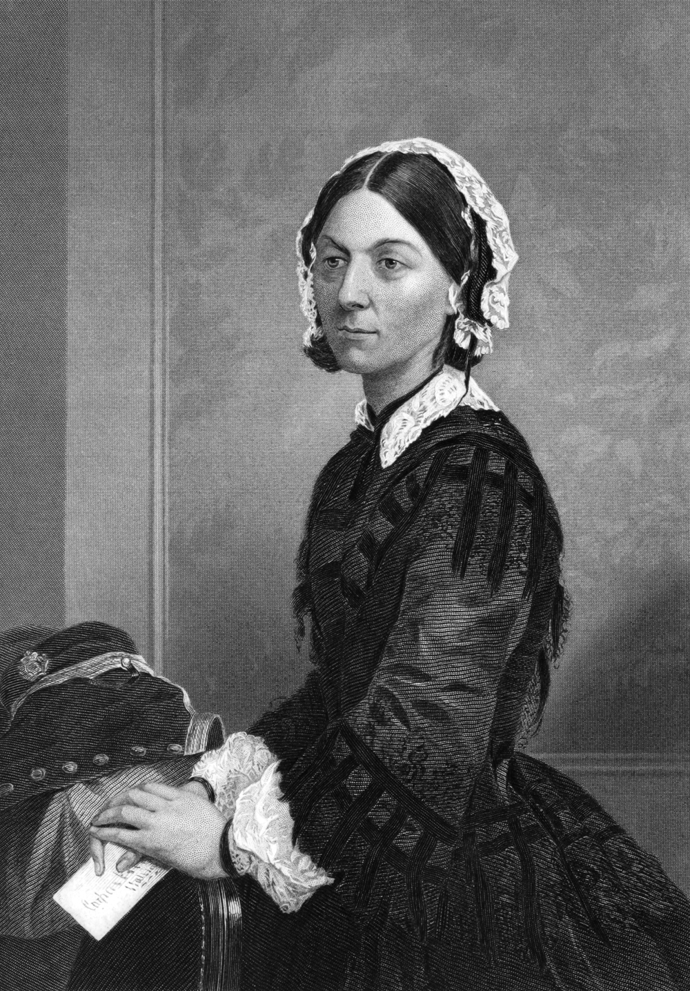 Florence Nightingale (1820-1910) on engraving from 1873. Celebrated English social reformer, statistician and  founder of modern nursing. Engraved by unknown artist and published in ''Portrait Gallery of Eminent Men and Women with Biographies'', USA, 1873.