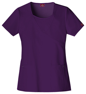 Jr. Fit Mock Wrap Top in Eggplant
