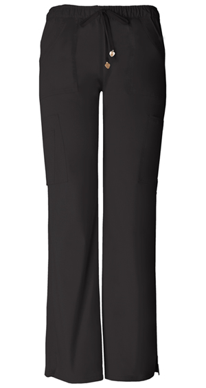 Low-Rise Drawstring Cargo Pant in Black