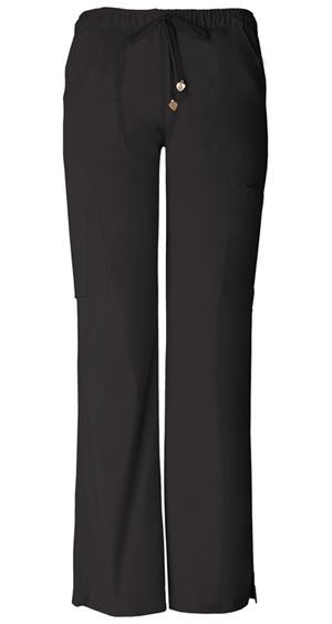 Low-Rise Drawstring Cargo Pant in Black