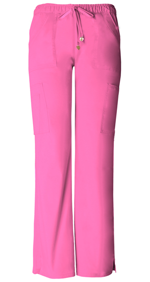 Low-Rise Drawstring Cargo Pant in Pink Party