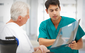 Male nurse with elderly patient