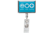 Nurse bling: Peace, love and nursing badge reel