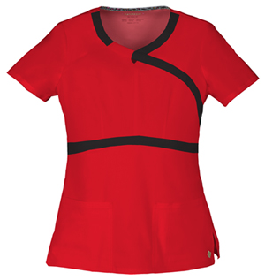 """""""Romance"""" Mock Wrap Top in Red"""