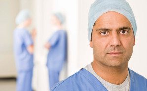 Male nurse prepped for surgery