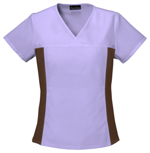 V-Neck Knit Panel Top in Orchid