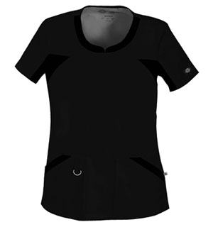 V-Neck Knit Panel Top in Black