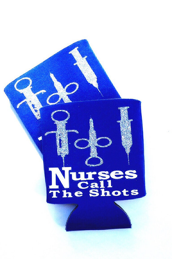 blue nurse koozie