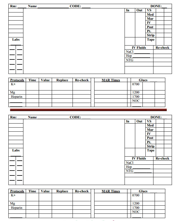 Nurse Brain Sheet - Hour, Day, Night Rotation