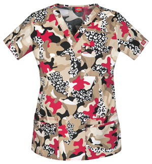 fall camo scrubs top
