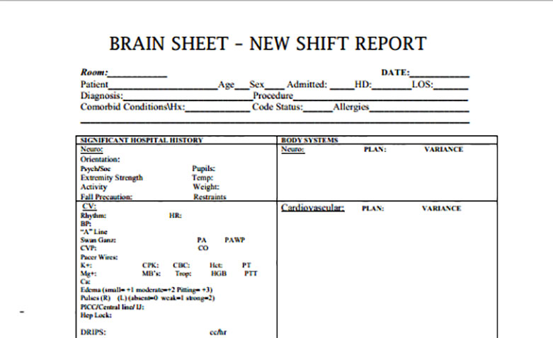 Nurse Brain Sheets  New Shift Report  Scrubs  The Leading