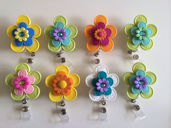 floral badge holder