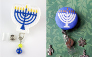 Nurse Bling: Two handmade Hanukkah badge reels