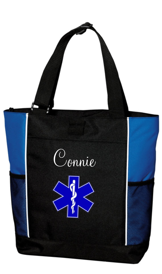 Blue and black tote bag