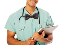 man-in-scrubs-and-bow-tie