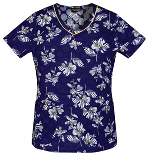 navy floral scrubs top