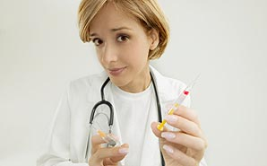 nurse with two needles