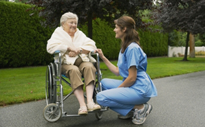 nurse outdoors with patient