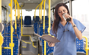 Nurse reading on bus