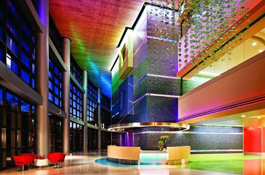LED lights in the atrium at Phoenix Children's Hospital