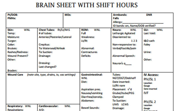 Nurse Brain Sheets - Shift Hours