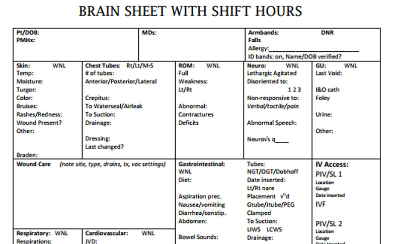 Nurse Brain Sheets - Shift Hours | Scrubs - The Leading Lifestyle