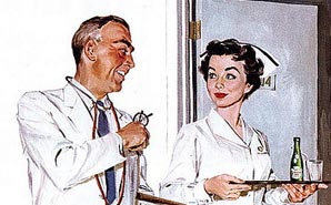 Vintage nurse, retro nurse, old fashioned nurse, RN, vintage RN,